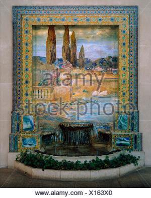 Garden Landscape. Designer: Designed by Louis Comfort Tiffany (American, New York 1848-1933 New York); Maker: Tiffany Studios (1902-32); Date: ca. - Stock Photo