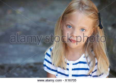 Portrait of a six years old girl - Stock Photo