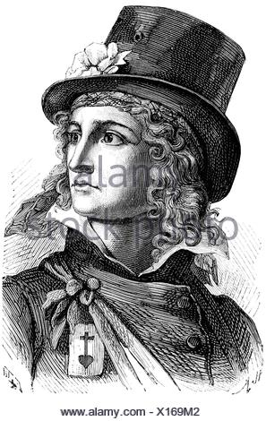 Rochejaquelein, Henri de la, 30.8.1772 - 26.1.1794, French general, commander of the Royal and Catholic Armies, portrait, wood engraving, 19th century,  , Additional-Rights-Clearances-NA - Stock Photo