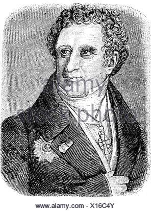 Christian VIII, 18.9.1786 - 20.1.1848, King of Denmark 1839 - 1848, portrait, wood engraving, 19th century, - Stock Photo