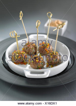 Lamb and pepper meat balls - Stock Photo