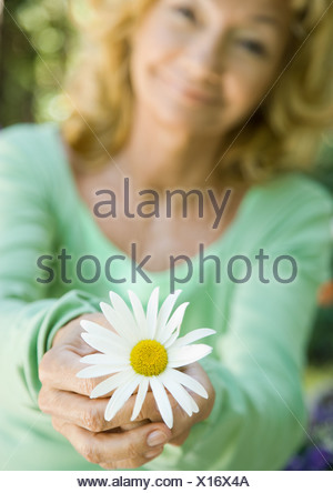 Senior woman holding out daisy - Stock Photo