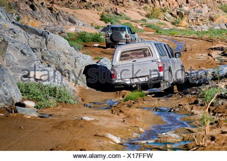 Car on a road, crossing a river, Richtersveld National Park, Northern Cape, South Africa, Africa