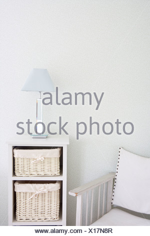 Canvas Chair And Storage Unit - Stock Photo