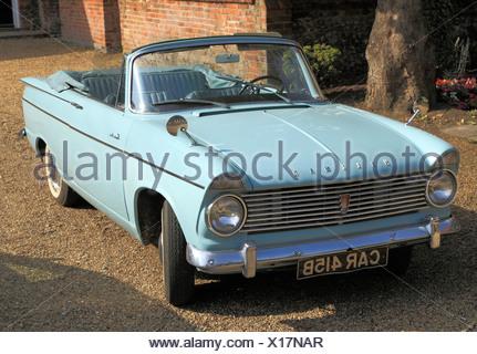 Hillman Super Minx, 1960s vintage motor car, British classic cars vehicles Hillmans, convertible convertibles, England UK - Stock Photo