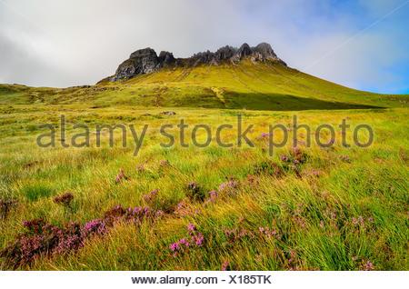 Scenic view of Inverpolly mountain peak Stack Pollaidh in Scotla - Stock Photo