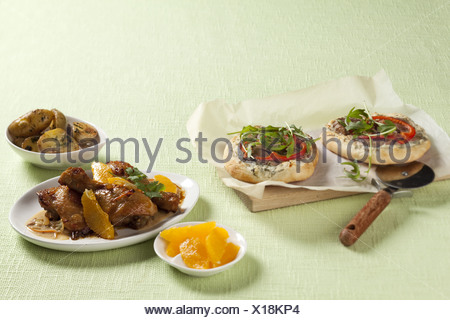 Chicken with Oranges and Joghurt - Stock Photo