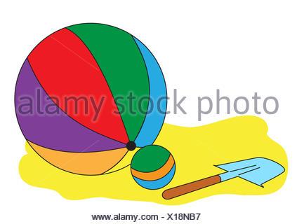 Balls and a children shovel - Stock Photo