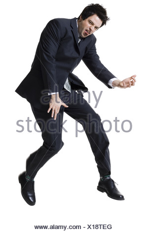 Businessman jumping - Stock Photo