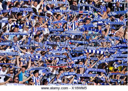 Hertha BSC fan block - Stock Photo