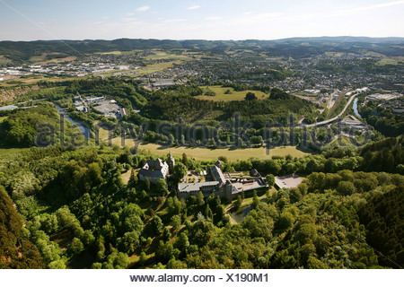 Aerial view, Burg Schnellenberg valley, Biggetal valley, in Attendorn in Kreis Olpe county, Sauerland region - Stock Photo