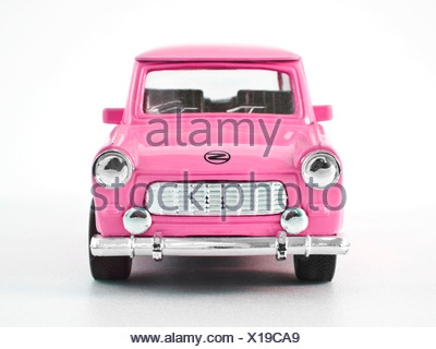 Trabant, miniature, front, pink - Stock Photo