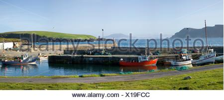 Purteen Harbour, Achill Island, Co Mayo, Ireland; Fishing Boats In The Harbour - Stock Photo