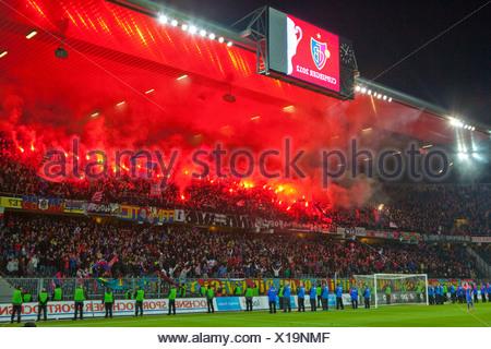 Fireworks, Stade de Suisse, stadium, Cup-final, canton, Bern, arrangement, football, soccer, spectator, smoke, fans, Switzerland - Stock Photo
