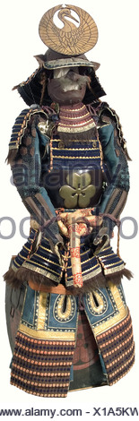 A leather ni-mai-do tosei gusoku, Japan, end of the Edo/beginning of the Meiji period. Momonari-kabuto in clear sabi nuri with damaged lacquer and hineno-shikoro sliding on four lames. Large crane maedate of the Tsuru family. All pieces of the armour are black lacquered, accented in gold, and set off with printed leather (retouched later) or light sabi nuri lacquer. Leather mempo in the Nara style with beard, three-piece yodari-kake and kebiki binding. The katabami mon of the Morikawa family is on the do (and carrying case). A six-lame leather chusode, worked l, Additional-Rights-Clearances-NA - Stock Photo