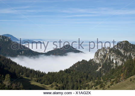 View of Kampenwand mountain, view from near the summit station looking towards the fog-shrouded Alps, Chiemgau area