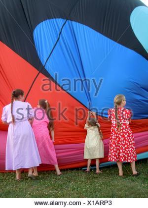 Amish girls, Western New York, USA - Stock Photo