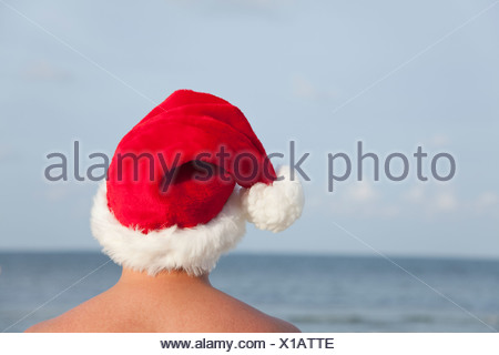 USA, Illinois, Metamora, Rear view of man wearing Santa hat facing lake - Stock Photo