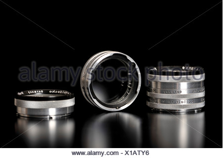 Old Rollei Rolleinar close-up lenses or filters - Stock Photo