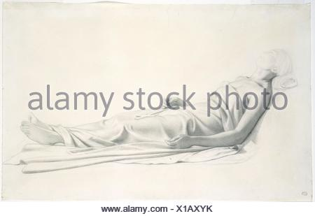 Drapery Study for the Figure of the Dying Mary Magdalen. Draftsman: Paul (Hippolyte) Delaroche (French, Paris 1797-1856 Paris); Date: 1815-56; - Stock Photo