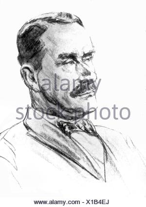 Mann, Thomas, 6.6.1875 - 12.8.1955, German author / writer, German author / writer, portrait, lithograph, 1925, Additional-Rights-Clearances-NA - Stock Photo