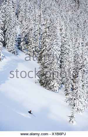 Man deep in backcountry. - Stock Photo