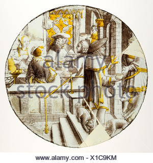 Roundel with Lazarus at the House of Dives. Date: ca. 1510-20; Culture: North Netherlandish; Medium: Colorless glass, silver stain, vitreous paint; - Stock Photo