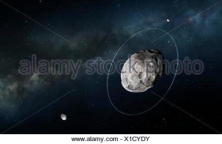 Haumea and moons, illustration. Haumea is a dwarf planet ...