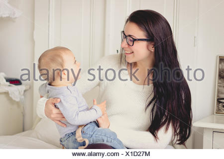 Netherlands, Mother and her baby boy - Stock Photo