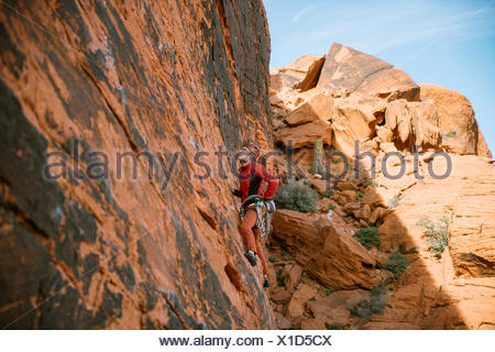 A climber leading 'Brief Encounter' (5.8) on Panty Wall in Red Rock Canyon, Nevada - Stock Photo
