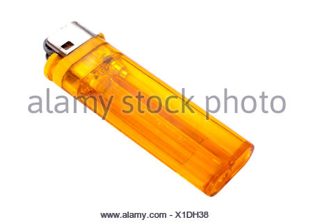 Orange lighter macro shot isolated on white - Stock Photo