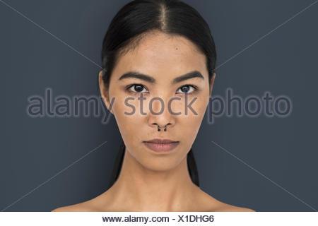 Woman Pierced Nose Ring Confidence Self Esteem Portrait - Stock Photo