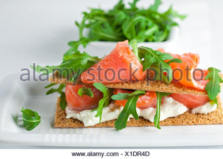 Smoked Salmon Canapes with Cream Cheese - Stock Photo