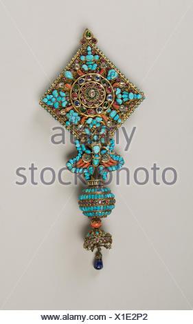 Ear Ornament for a Deity. Date: 17th-19th century; Culture: Nepal; Medium: Mercury, gilt silver, rubies, emeralds, sapphires, lapis lazuli, coral, - Stock Photo