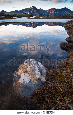 Reflection of Williwaw Peak in a lake with a lichen covered rock in the foreground, Chugach State Park, Alaska - Stock Photo