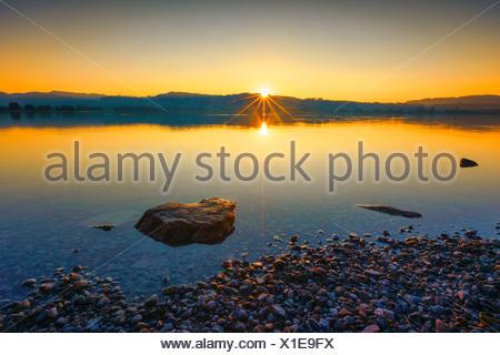 Lake Pfaeffikon at sunrise, Zuercher Oberland - Stock Photo
