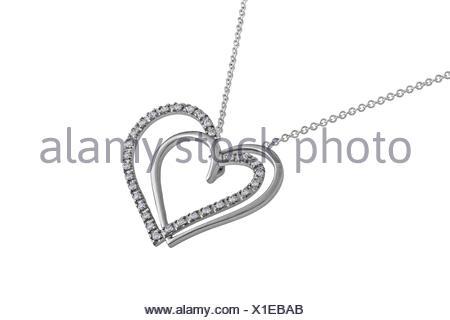 Silver hearts pendant, necklace - Stock Photo