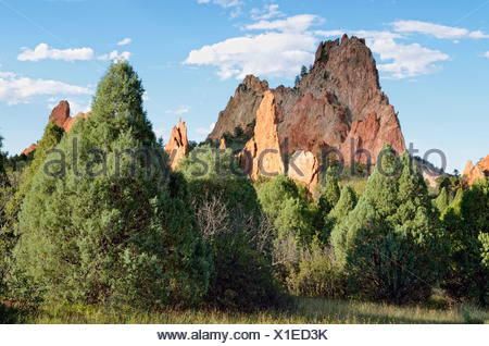 Cathedral Rock or Gray Rock, Garden of the Gods, red sandstone, Colorado Springs, Colorado, USA - Stock Photo