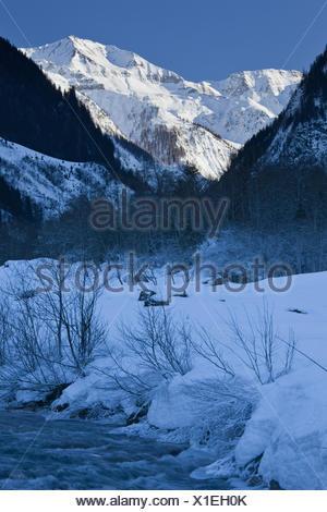 Austria, Salzburg, Rauristal, Hohe Tauern, brook, winter, - Stock Photo