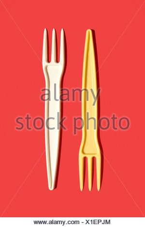 Plastic forks, elevated view - Stock Photo