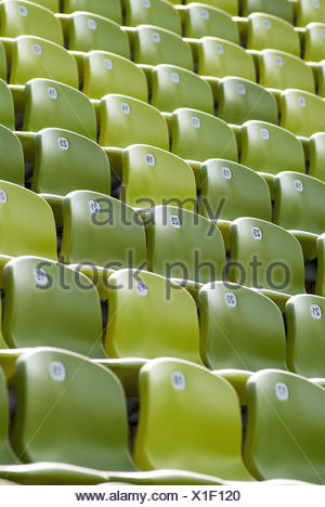 Seating, seats, series, numbering, figures, green, - Stock Photo