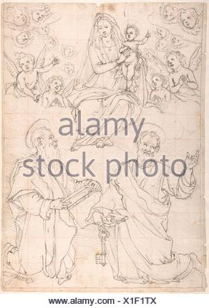 Virgin and Child Appearing in a Glory of Angels to Saint Peter and Saint Paul. Artist: Jacopo da Empoli (Jacopo Chimenti) (Italian, Florence - Stock Photo