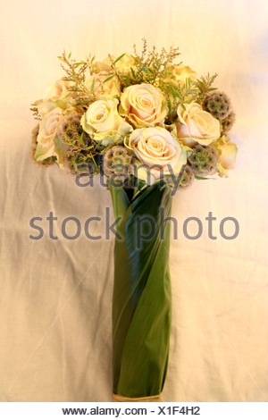 Close-up of bouquet of flowers in vase - Stock Photo