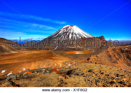 View about the Tongariro volcano plateau to the snowy Mt. Ngauruhoe. - Stock Photo