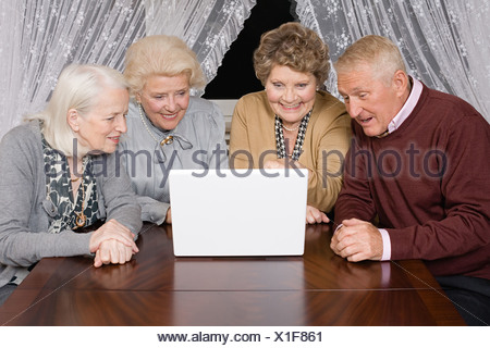 Senior adults looking at a laptop - Stock Photo