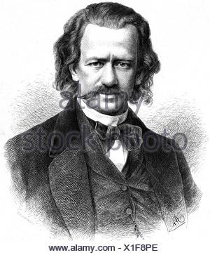 Brachvogel, Albert Emil, 29.4.1824 - 27.11.1878, German author/writer, portrait, wood engraving by Adolf Neumann (1825 - 1884), , Additional-Rights-Clearances-NA - Stock Photo