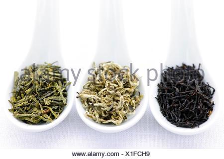 tea leaves black - Stock Photo