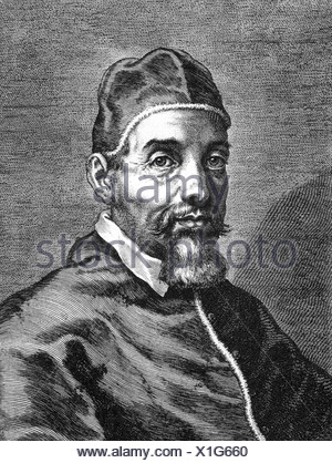 Urban VIII (Maffeo Barberini), 5.4.1568 - 29.7.1644, Pope  6.8.1623 - 29.7.1644, portrait, copper engraving, 17th century, Artist's Copyright has not to be cleared - Stock Photo