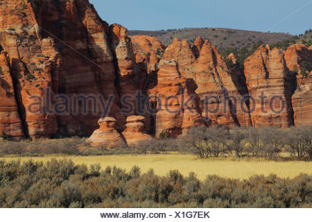Sandstone Formations along Kolob Canyon Terrace road, in Zion National Park, Utah.
