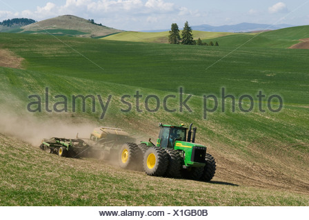 A tractor and air seeder replant areas of winter wheat damaged by lingering snow packs in the rolling hills of the Palouse / USA - Stock Photo